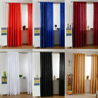 1pc Solid Color Satin Door Window Curtain Room Half Shading Drape Curtains Decor