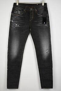 TAKESHY KUROSAWA TK 08 CLE Men's W34/~L34 Super Black Ripped Jeans 11039*mm