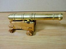 "Large Brass Cannon on wooden carriage 11"" Long"