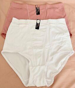 2 Pr Embroider Panties Girdle Briefs Shaper Waist WHITE PINK Pockt Plus 2X 3X 4X
