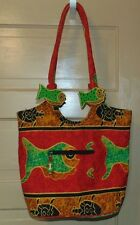 Large Tote Red Green Orange Fish Crabs Wood Canvas 2 Pocket with Eyeglass Case