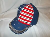 Ladies Rhinestone Ball Cap with American Flag-Super Cute and Any Size/Brand New