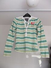 Hilfiger Denim Cotton Top Size Small Green White Striped With Red Rose Emblem