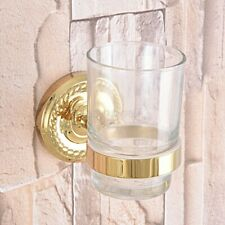 Gold Color Brass Bathroom Wall Mount Toothbrush Holder w/ Single Glass Cup