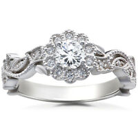 1/2 Ct Vintage Diamond Vintage Vine Halo Engagement Ring 14K White Gold
