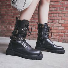 Women Buckle Strap Punk Ankle Boots Lace up Round Toe Flats Rivet Gothic Shoes s