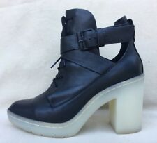 ALEXANDER WANG Gorgeous Jill Ankle Boot Black Leather Lace-Up SZ: 37/US 6.5
