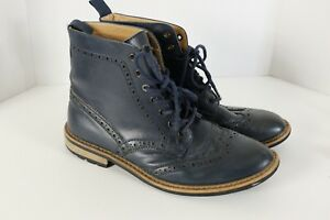 Joseph Abboud Preston Blue Leather Wingtip Mens Sz 10-1/2 Ankle Chukka Boots