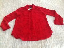 Mossimo Womens Blouse Red Rose Bouquet