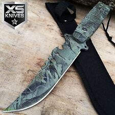 """11"""" FIXED BLADE FOREST CAMO Tactical Survival Hunting Knife Bowie Camping"""