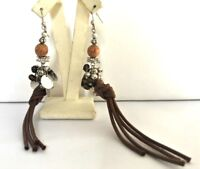 NEW - VINTAGE HULTQUIST SILVER PLATED EARRINGS WOOD & GLASS BEADS STRING PEARLS