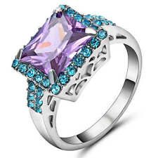 Size 8 Purple Amethyst &blue Crystal Women's 18K White Gold Filled Wedding Ring