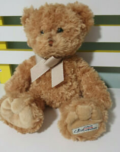 KORIMCO TEDDY BEAR BROWN WITH GOLD BOW 30CM COUNTRY ROAD CR
