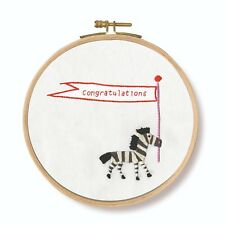 """DMC Printed Embroidery Kit """"Congratulations! Zebra"""" with hoop"""