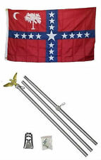 3x5 State of South Carolina Sovereignty Flag Aluminum Pole Kit Set 3'x5'
