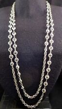 """Antique Art Deco Bezel Set Clear Pointed Back Crystal Flapper Chain Necklace 61"""""""