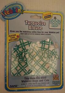 TURQUOISE BLOUSE TOP Fits Most WEBKINZ Pet Dog Cat CLOTHING w/ Feature Code Ganz