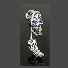 Skull BLUE Eye Gem Belly Ring Navel Naval ( w809)