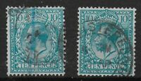 SG394 & 394a.  10d.Turquoise & Deep Turquoise Blue. FU. Total Cat.£40. Ref:0/39