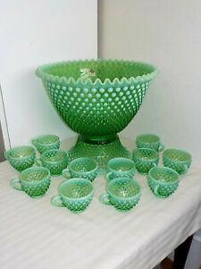 FENTON GREEN OPALESCENT VASELINE HOBNAIL PUNCH BOWL & 12 CUPS & GLASS LADLE