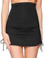 Anne Cole Women's Super High-Waist Shape Control Skirt Bikini, Black, Size Large