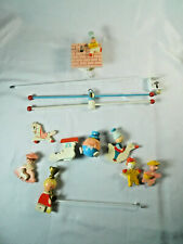 Vintage Mother Goose Musical Crib Mobile IRMI M815 Wood Hand Painted