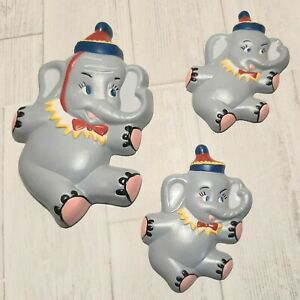 Set of Three Circus Elephant Wall Hanging Plaques For Baby Nursey Room Decor