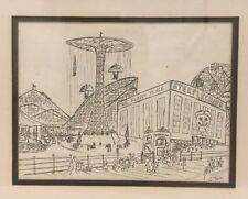 Vintage 1940's Original Coney Island Black White Drawing Signed By Artist C Tera