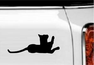 """Cat with Paw Up Vinyl Decal Home Décor 3"""" x 8"""""""