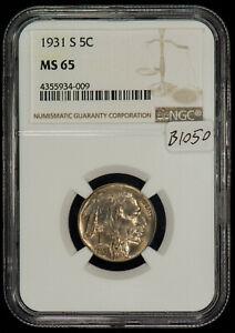 1931-S 5c Buffalo Nickel - NGC MS 65 - PQ Eye Appeal - Key Date - SKU-B1050