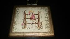 Holly Hobbie small wooden hanging plaque ornament decor Used 1970s Hobby
