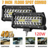 """2x 7"""" 120W LED Arbeitsscheinwerfer Scheinwerfer Offroad SUV Flutlicht Light Bar"""