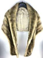 1940S Vintage Mink? Stole Wrap Cape Jacket Coat Brown Animal Fur Art Deco