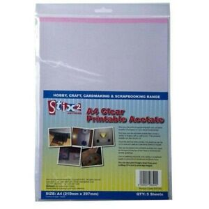 Stix2 Clear Printable Acetate Sheets, A4, Pack of 5 S57183