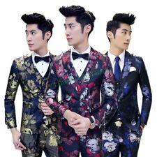 2017 Spring Floral Mens Slim Fit Coats Jackets Chic Vest 2017 Pant Suits Wedding