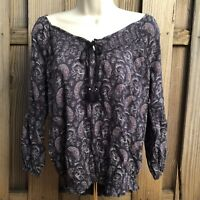American Eagle Womens Boho Peasant Top S Small Floral Paisley NWT