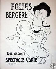 Original Vintage Advertisment Leonetto Cappiello Folies Bergere Art Nouveau 1890