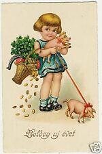 Pigs, Two Little Pigs with a Little Girl,old funny card
