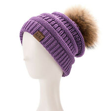 Womens Mens Acrylic Winter Cap Baggy Slouchy Fur Pom pom Beanie Toque Hat A404