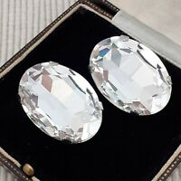 Vintage - 1980s Huge Oval Diamante Crystal Glass Clip on Earrings