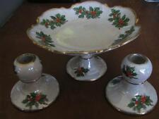 Ucagco Compote with Candle Holders Flower of Month Christmas Holly Lusterware
