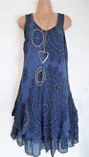 New Ladies Lagenlook 2 Layered cotton Summer Sun Dress One size 10 12 14 16 18