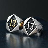 Men's Black Friday Number 13 Skull Gold Silver Stainless Steel 1%er Biker Ring