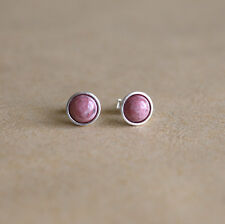 925 Sterling silver stud earrings with natural Rhodonite gemstones