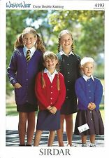 Wash n Wear Cardigans Crepe Double Knitting Patterns Sirdar Kids #4193 3yr-16yr