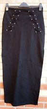 RIVER ISLAND BLACK LACE UP SIDES SPLITS SIDES BODYCON SUMMER MAXI LONG SKIRT 10
