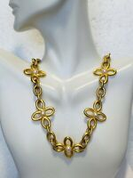 Mid 1900's Vintage Gold Tone Large Pearl Flower Cabin Link Necklace Jewelry