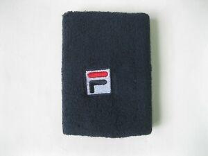 FILA Wrist Sweatband Navy Logo Cotton Band Terry 11 cm x 9 cm