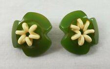 VINTAGE 3 Leaf Clover Green Plastic w/White Craft Embellishment St Patrick Day
