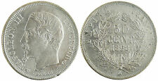 NAPOLEON  III  ,  50  CENTIMES  ARGENT  TETE  NUE  ,  1858  A  PARIS